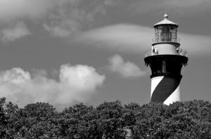 photo shows a black and white st Augustine lighthouse
