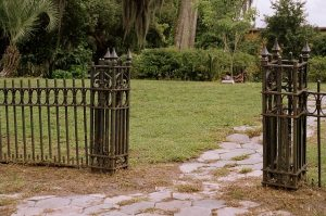 Old rusty gates at the Greenwood Cemetery.