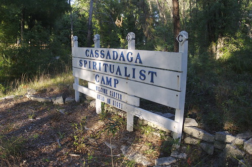 "Signage that reads ""Cassadaga Spiritualist Camp"" at the entrance of the Spiritualist community."
